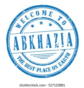 """rubber stamp with text """"welcome to Abkhazia, the best place on Earth"""" on white, vector illustration"""