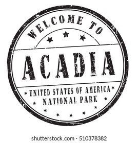 """rubber stamp with text """"welcome to Acadia, United States of America, National Park"""" on white, vector illustration"""