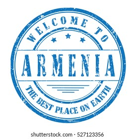 """rubber stamp with text """"welcome to Armenia, the best place on Earth"""" on white, vector illustration"""