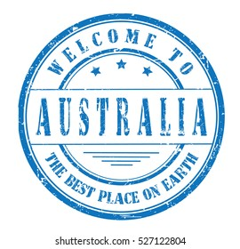 """rubber stamp with text """"welcome to Australia, the best place on Earth"""" on white, vector illustration"""