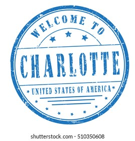 """rubber stamp with text """"welcome to Charlotte, United States of America"""" on white, vector illustration"""