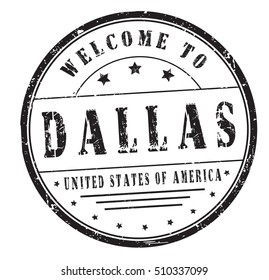 """rubber stamp with text """"welcome to Dallas, United States of America"""" on white, vector illustration"""