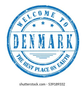 """rubber stamp with text """"welcome to Denmark, the best place on Earth"""" on white, vector illustration"""