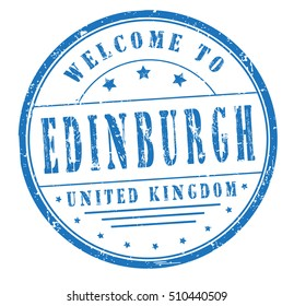 """rubber stamp with text """"welcome to Edinburgh, United Kingdom"""" on white, vector illustration"""