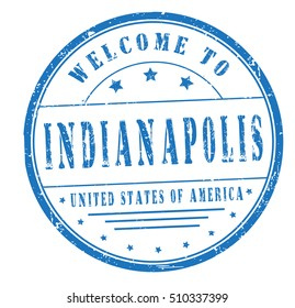 """rubber stamp with text """"welcome to Indianapolis, United States of America"""" on white, vector illustration"""