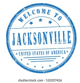 """rubber stamp with text """"welcome to Jacksonville, United States of America"""" on white, vector illustration"""