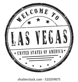"""rubber stamp with text """"welcome to Las Vegas, United States of America"""" on white, vector illustration"""