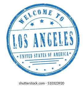 """rubber stamp with text """"welcome to Los Angeles, United States of America"""" on white, vector illustration"""
