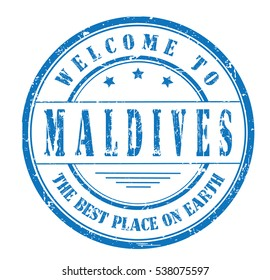 """rubber stamp with text """"welcome to Maldives, the best place on Earth"""" on white, vector illustration"""