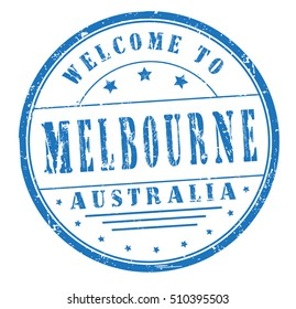 """rubber stamp with text """"welcome to Melbourne, Australia"""" on white, vector illustration"""