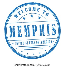 """rubber stamp with text """"welcome to Memphis, United States of America"""" on white, vector illustration"""
