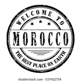 Rubber stamp with text. WELCOME TO MOROCCO, THE BEST PLACE ON EARTH. on white, vector illustration