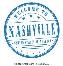"""rubber stamp with text """"welcome to Nashville, United States of America"""" on white, vector illustration"""