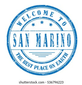 """rubber stamp with text """"welcome to San Marino, the best place on Earth"""" on white, vector illustration"""