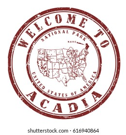 """rubber stamp """"welcome to Acadia, Maine"""", vector illustration"""