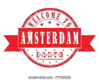 "rubber stamp ""welcome to Amsterdam"", vector illustration"