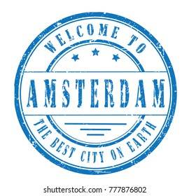 """rubber stamp """"welcome to Amsterdam"""", vector illustration"""
