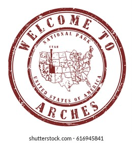 """rubber stamp """"welcome to Arches, Utah"""", vector illustration"""