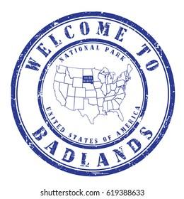"rubber stamp ""welcome to Badlands"", vector illustration"