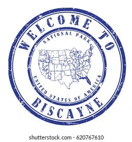 """rubber stamp """"welcome to Biscayne"""", vector illustration"""