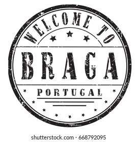 """rubber stamp """"welcome to Braga, Portugal"""", vector illustration"""