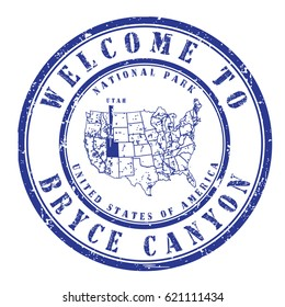"""rubber stamp """"welcome to Bryce Canyon, Utah"""", vector illustration"""