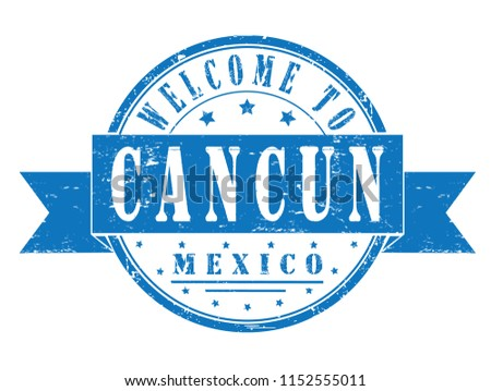 Rubber Stamp Welcome Cancun Mexico Vector Stock Vector Royalty Free