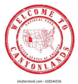 """rubber stamp """"welcome to Canyonlands, Utah"""", vector illustration"""