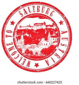 "rubber stamp ""welcome to Salzburg, Austria"", vector illustration"