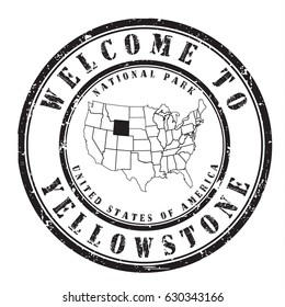 "rubber stamp ""welcome to Yellowstone"", vector illustration"
