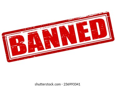 Rubber stamp with word banned inside, vector illustration