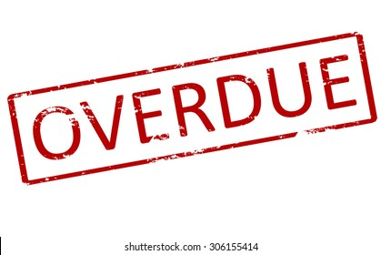 Rubber stamp with word overdue inside, vector illustration