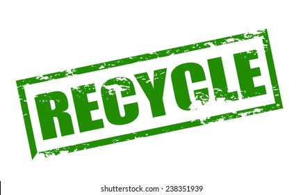 Rubber stamp with word recycle inside, vector illustration