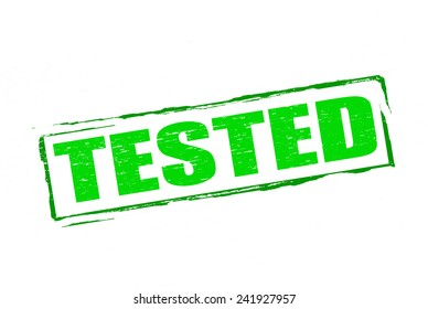 Rubber stamp with word tested inside, vector illustration