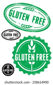 Rubber stamps with text gluten free, vector