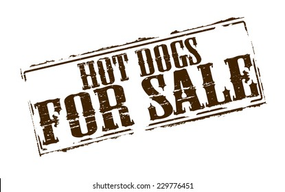 Rubber stamps with text hot dogs for sale inside, vector illustration