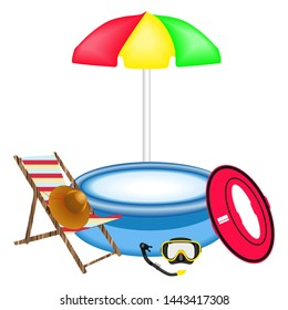 Rubber swimming pool on white background