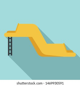 Rubber waterpark slide icon. Flat illustration of rubber waterpark slide vector icon for web design
