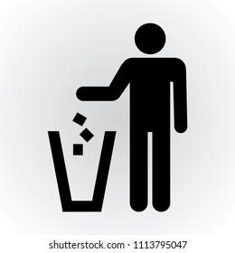 Rubbish bin , littering icon
