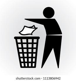 rubbish bin, littering, trash icon