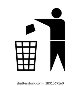 Rubbish bin sign. Image of a trash can. The symbol of purity. Waste recycling illustration. Vector drawing.
