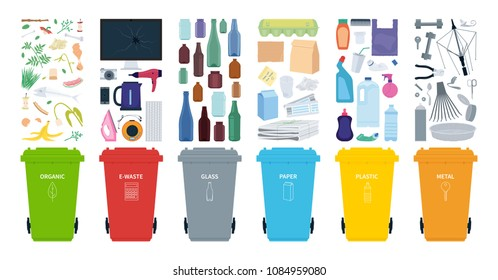 Rubbish bins for recycling different types of waste. Sort plastic, organic, e-waste, metal, glass, paper. Vector illustration.