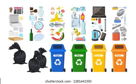 Rubbish bins for recycling different types of waste. Garbage containers for trash sorted by plastic, organic, e-waste, metal, glass, paper. Vector illustrated elements set for infographics