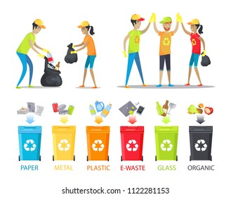 Rubbish collecting and allocation vector banner isolated on white background illustration, working people in special t-shirts with recycling symbol