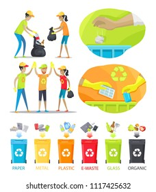 Rubbish collecting and sorting vector illustration, cheerful volunteers holding bags with collected waste, set of trash boxes for different junk types