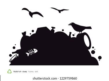 Rubbish dump icon.  Black trash pile silhouette.