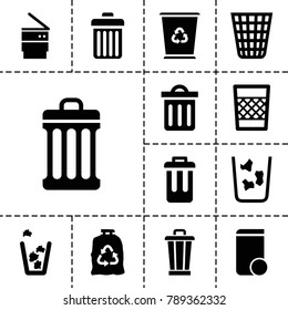 Rubbish icons. set of 13 editable filled rubbish icons such as trash bag, trash bin