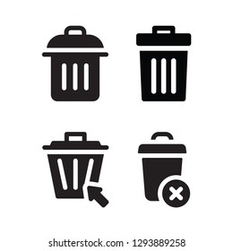 rubbish set vector icon
