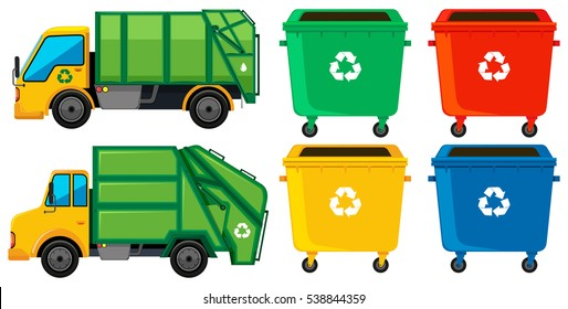 Rubbish truck and cans in four colors illustration