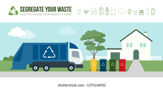 Rubbish truck collecting garbage bins in the street: separate waste collection management and recycling concept